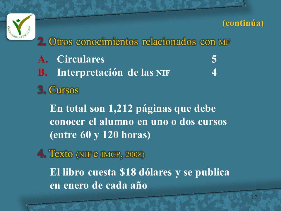 17 A.Circulares5 B.Interpretación de las NIF 4 En total son 1,212 páginas que debe conocer el alumno en uno o dos cursos (entre 60 y 120 horas) El lib