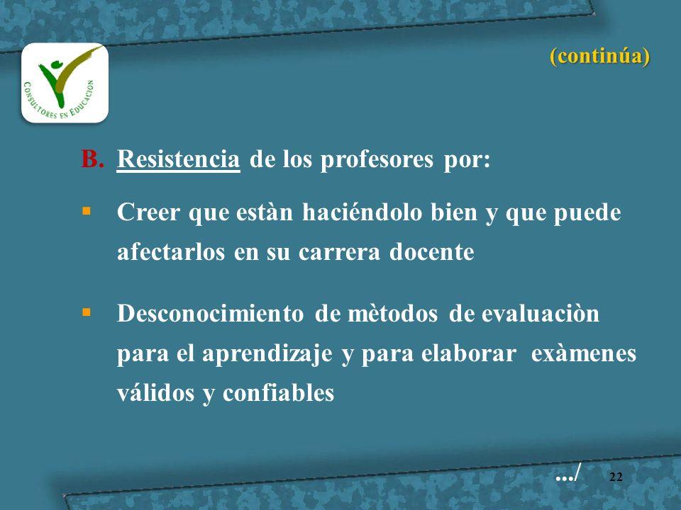 22 B.Resistencia de los profesores por: Creer que estàn haciéndolo bien y que puede afectarlos en su carrera docente Desconocimiento de mètodos de eva