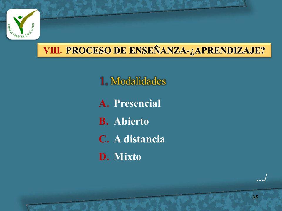 35.../ A.Presencial B.Abierto C.A distancia D.Mixto