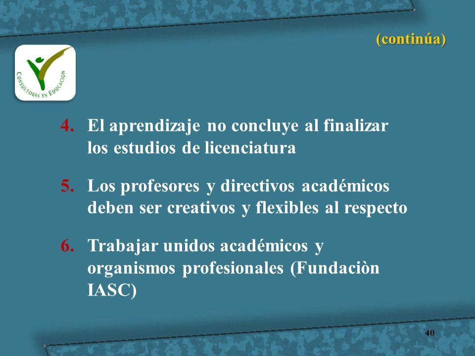 40 4.El aprendizaje no concluye al finalizar los estudios de licenciatura 5.Los profesores y directivos académicos deben ser creativos y flexibles al
