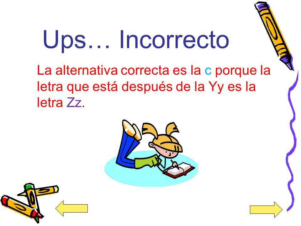 ¡Correcto! La alternativa correcta es la c porque la letra que está después de la letra Yy es la letra Zz.