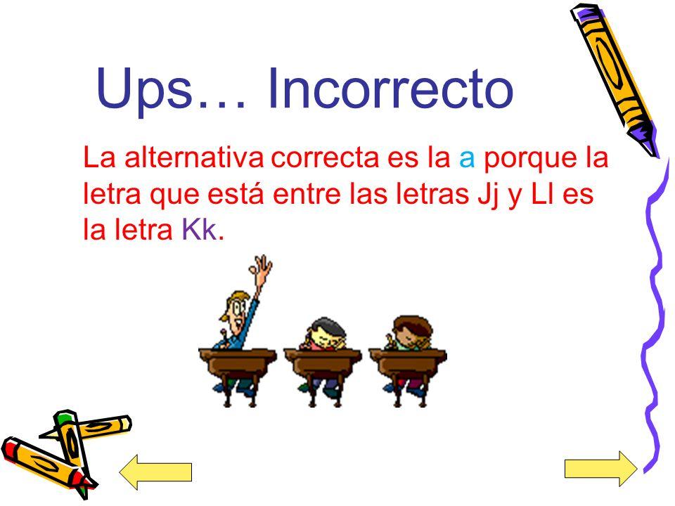 ¡Felicidades! Buen trabajo la alternativa correcta es la a porque la letra que está entre las letras Jj y Ll es la letra Kk.