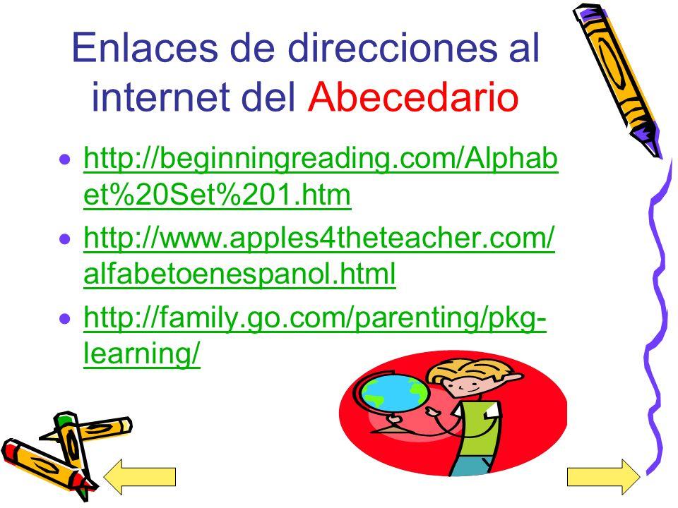 Enlaces de videos del internet sobre El Abecedario http://www.youtube.com/watch?v=XGfh qSgi97E&feature=related http://www.youtube.com/watch?v=XGfh qSg