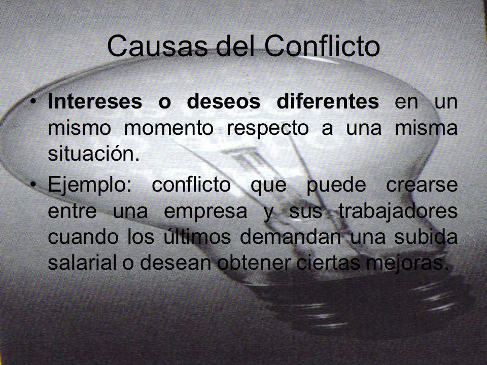 Causas del Conflicto Diferencia de valores o creencias que caracteriza a los seres humanos puede provocar conflictos entre las personas.