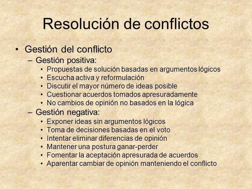 Resolución de conflictos Gestión del conflicto –Gestión positiva: Propuestas de solución basadas en argumentos lógicos Escucha activa y reformulación