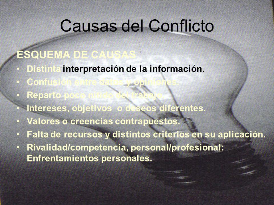 Causas del Conflicto ESQUEMA DE CAUSAS Distinta interpretación de la información.