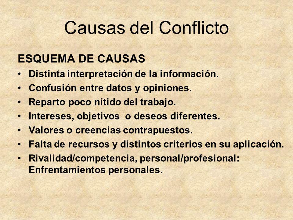 Causas del Conflicto Reparto poco nítido del trabajo que tiene que hacer cada persona.