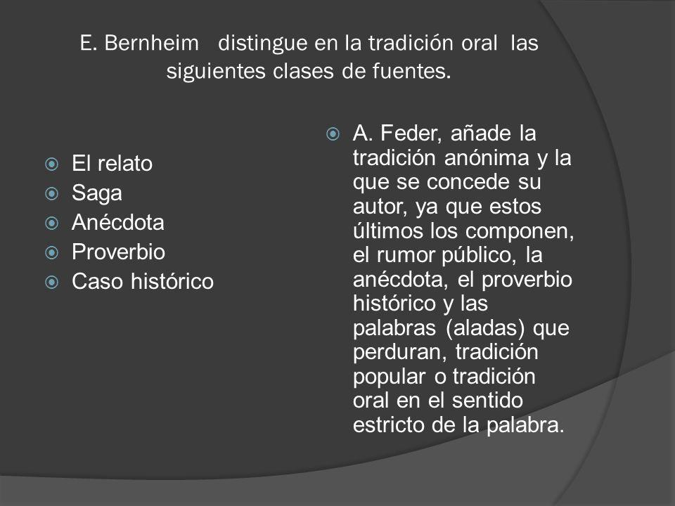 E. Bernheim distingue en la tradición oral las siguientes clases de fuentes. El relato Saga Anécdota Proverbio Caso histórico A. Feder, añade la tradi