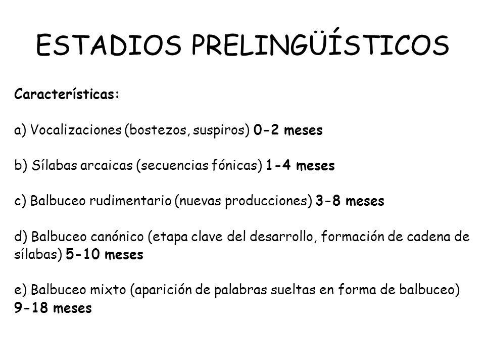 ESTADIOS PRELINGÜÍSTICOS Características: a) Vocalizaciones (bostezos, suspiros) 0-2 meses b) Sílabas arcaicas (secuencias fónicas) 1-4 meses c) Balbu