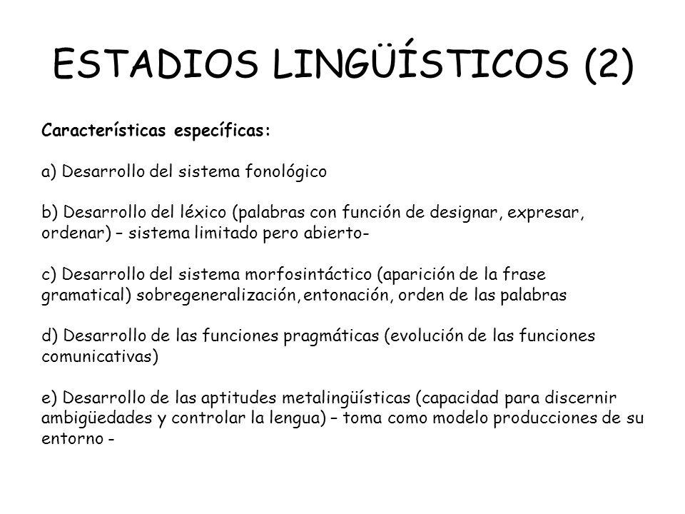 ESTADIOS LINGÜÍSTICOS (2) Características específicas: a) Desarrollo del sistema fonológico b) Desarrollo del léxico (palabras con función de designar