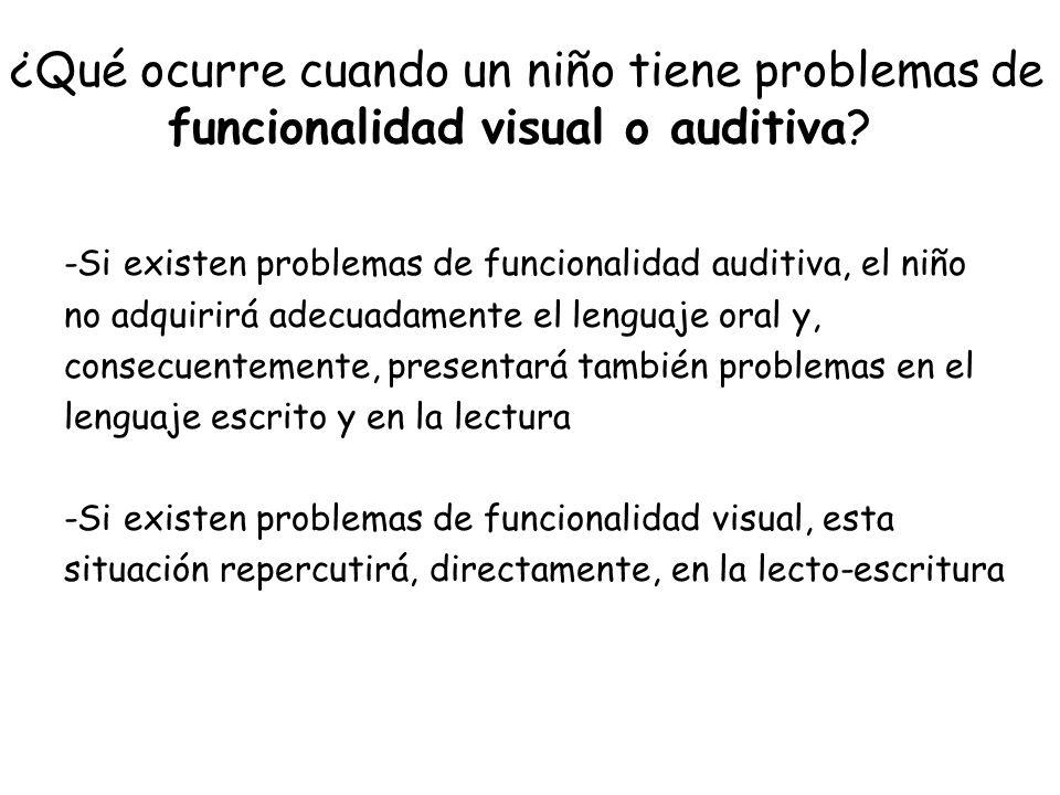 ¿Qué ocurre cuando un niño tiene problemas de funcionalidad visual o auditiva? -Si existen problemas de funcionalidad auditiva, el niño no adquirirá a