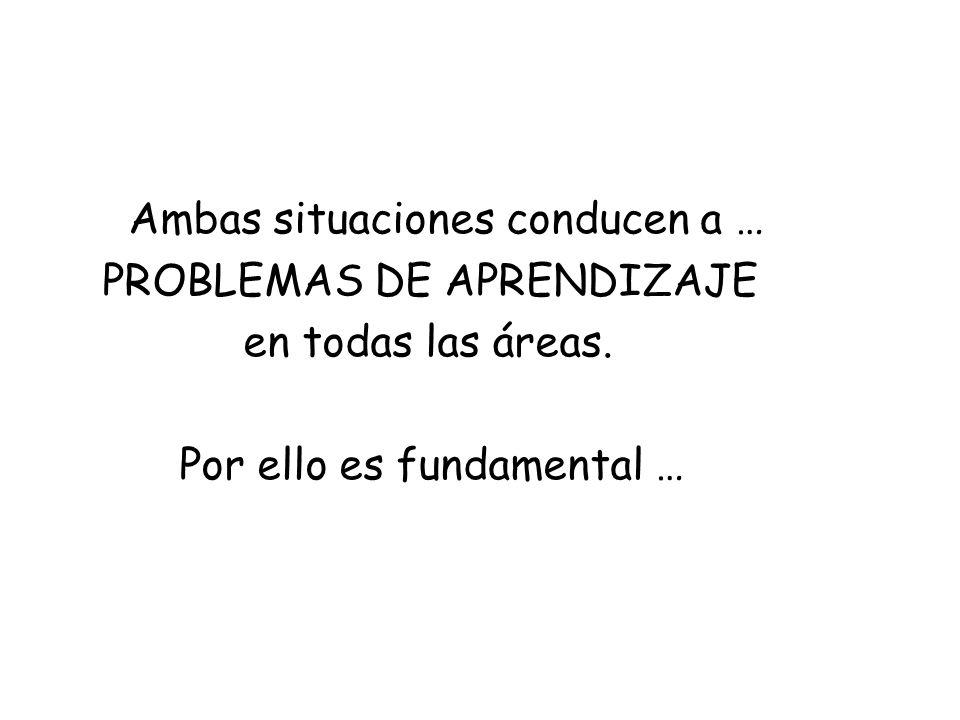 Ambas situaciones conducen a … PROBLEMAS DE APRENDIZAJE en todas las áreas. Por ello es fundamental …