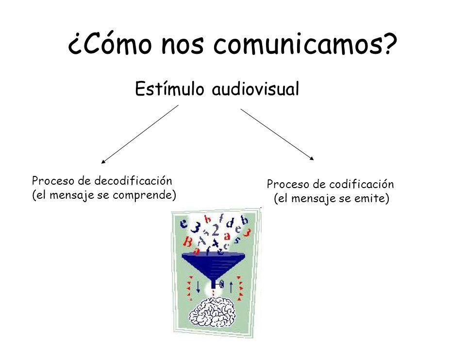¿Cómo nos comunicamos? Estímulo audiovisual Proceso de decodificación (el mensaje se comprende) Proceso de codificación (el mensaje se emite)