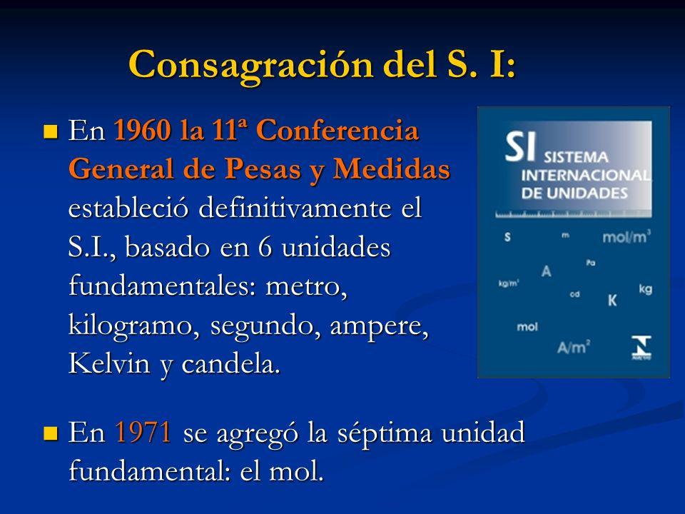 Consagración del S. I: En 1960 la 11ª Conferencia General de Pesas y Medidas estableció definitivamente el S.I., basado en 6 unidades fundamentales: m