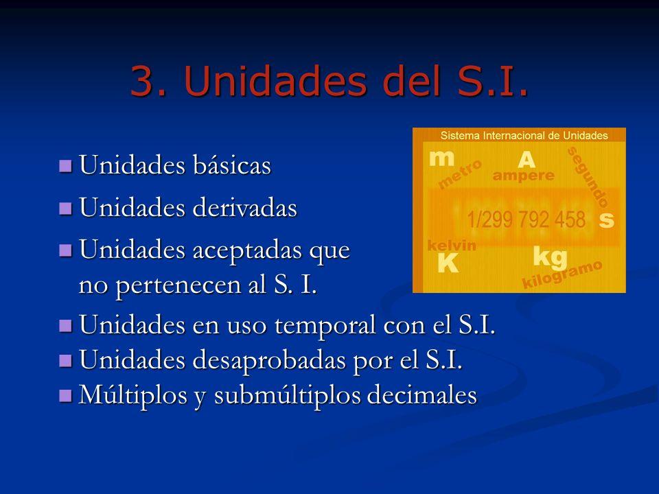 3. Unidades del S.I. Unidades en uso temporal con el S.I. Unidades en uso temporal con el S.I. Unidades desaprobadas por el S.I. Unidades desaprobadas