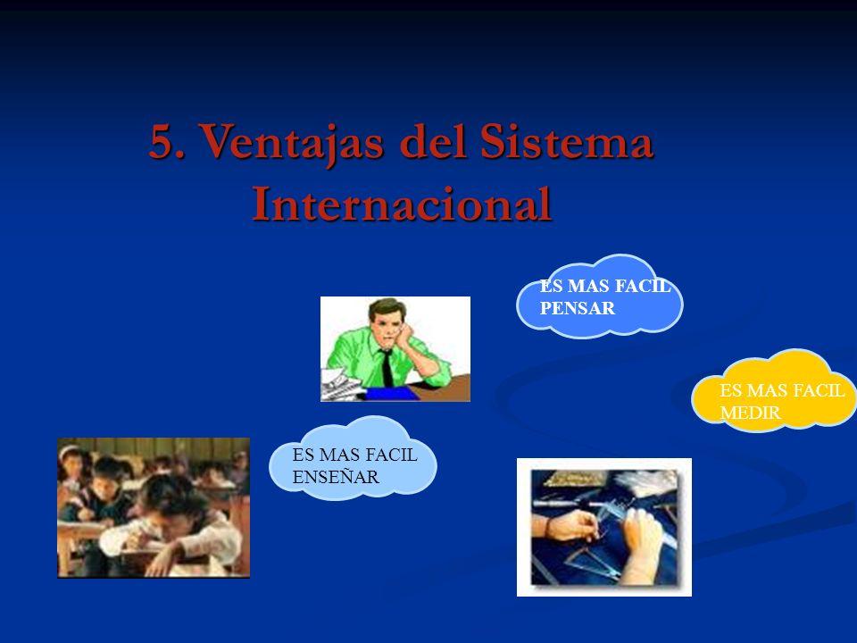 5. Ventajas del Sistema Internacional ES MAS FACIL PENSAR ES MAS FACIL MEDIR ES MAS FACIL ENSEÑAR