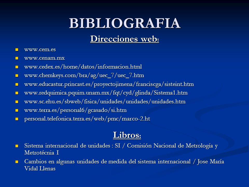 BIBLIOGRAFIA Direcciones web : www.cem.es www.cem.es www.cenam.mx www.cenam.mx www.cedex.es/home/datos/informacion.html www.cedex.es/home/datos/inform