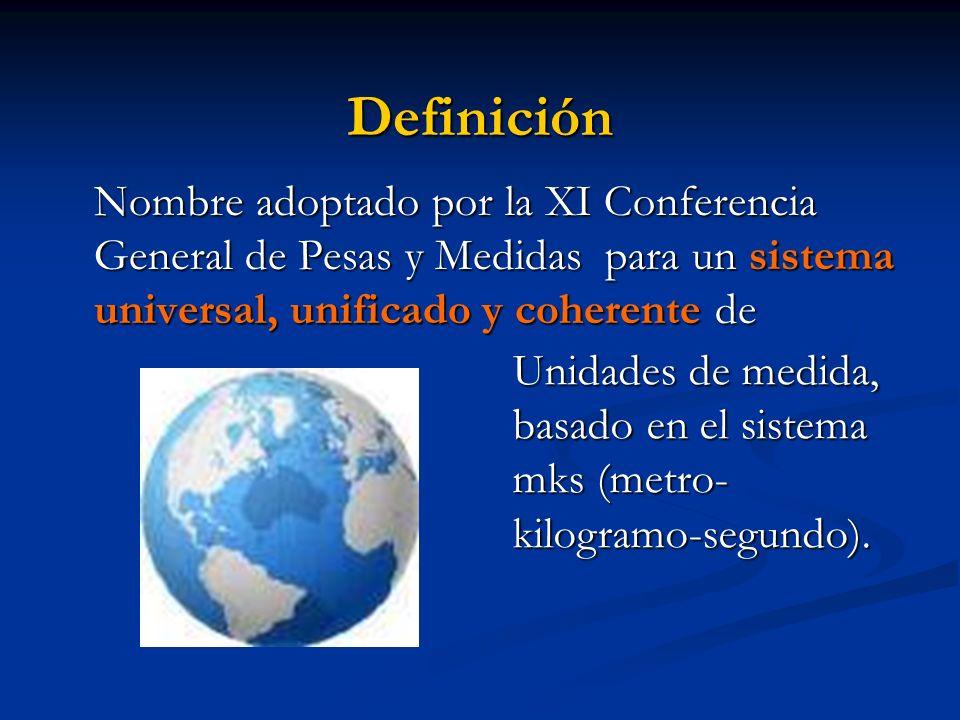 Definición Nombre adoptado por la XI Conferencia General de Pesas y Medidas para un sistema universal, unificado y coherente de Unidades de medida, ba