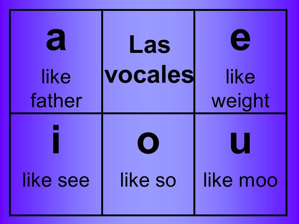 a like father e like weight i like see o like so u like moo Las vocales
