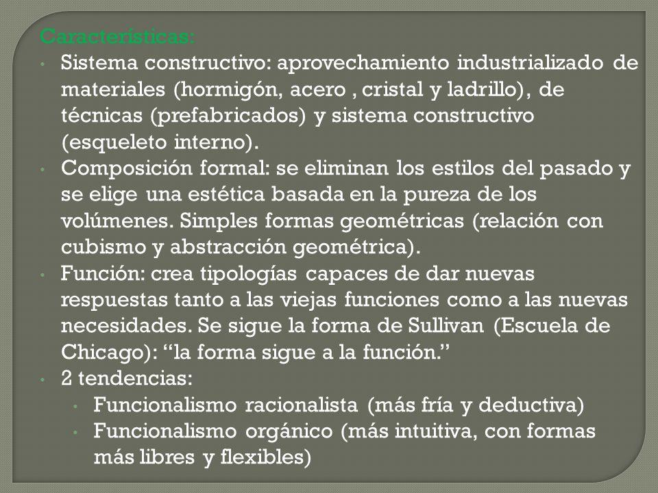 Características: Sistema constructivo: aprovechamiento industrializado de materiales (hormigón, acero, cristal y ladrillo), de técnicas (prefabricados