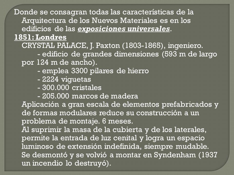Donde se consagran todas las características de la Arquitectura de los Nuevos Materiales es en los edificios de las exposiciones universales. 1851: Lo