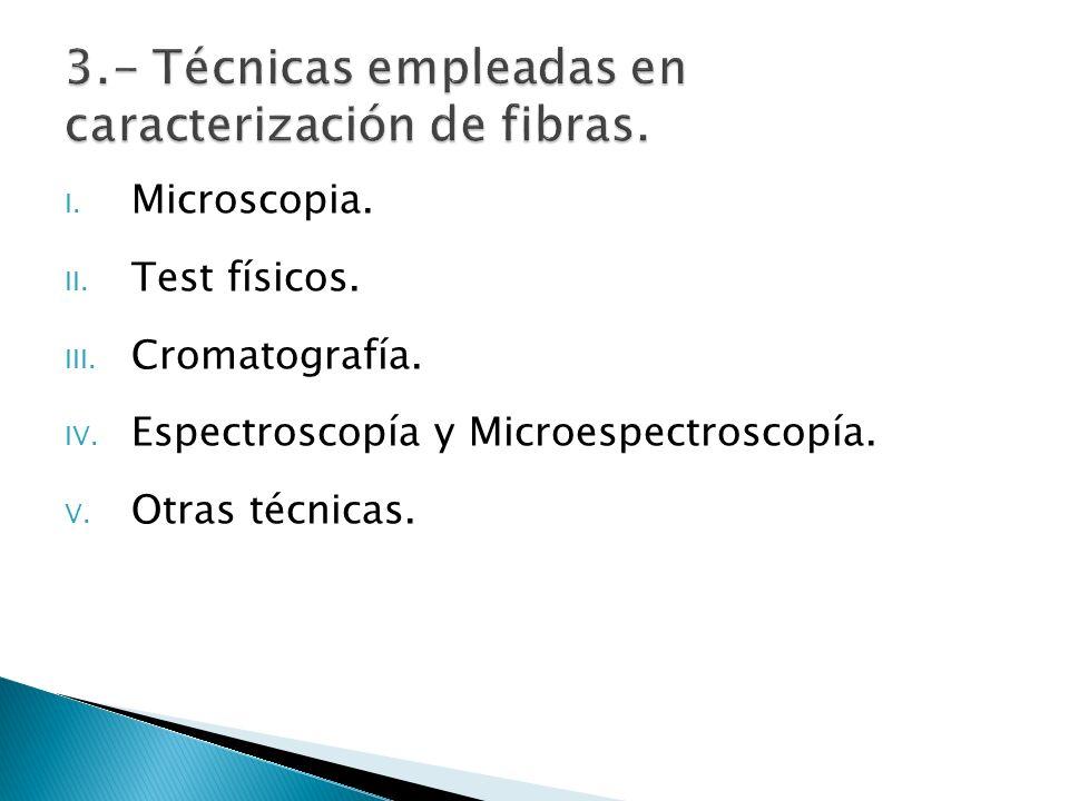 I. Microscopia. II. Test físicos. III. Cromatografía. IV. Espectroscopía y Microespectroscopía. V. Otras técnicas.