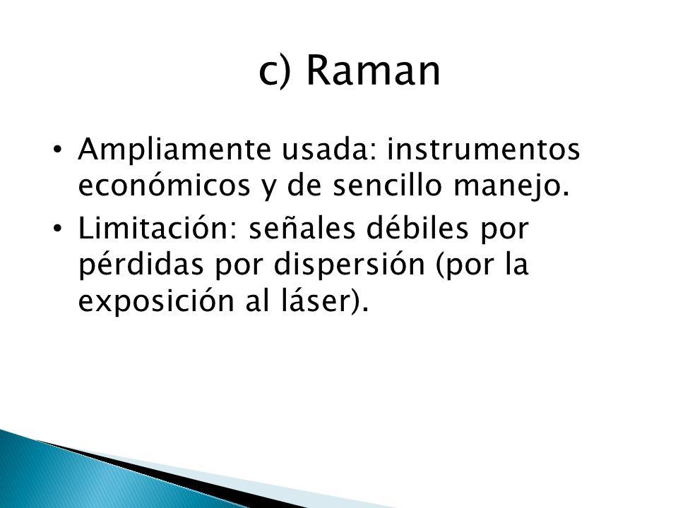 c) Raman Ampliamente usada: instrumentos económicos y de sencillo manejo. Limitación: señales débiles por pérdidas por dispersión (por la exposición a