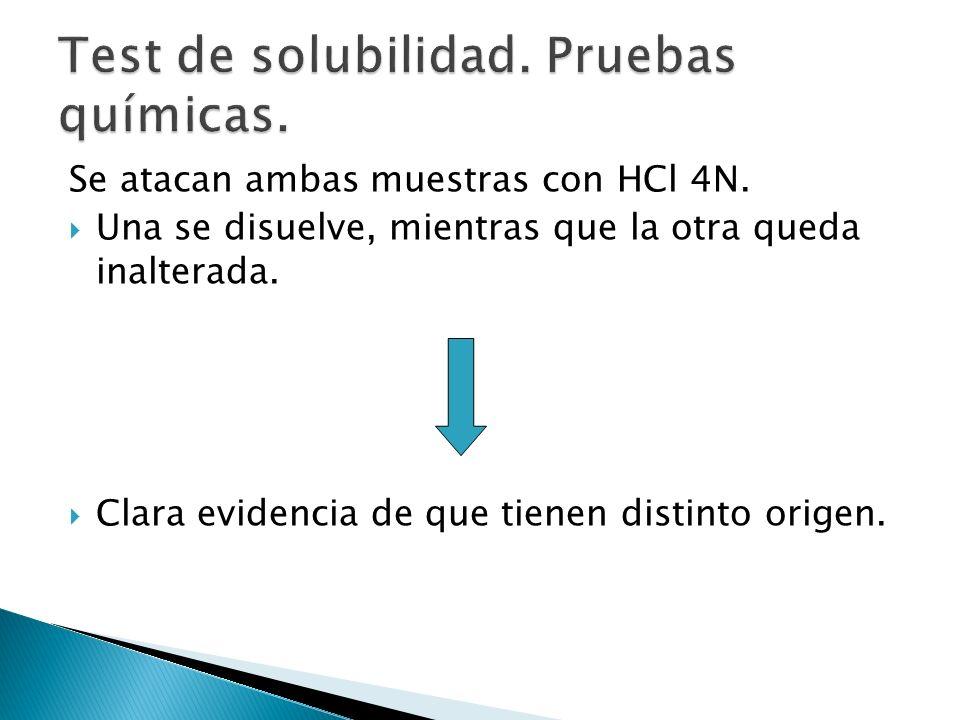 Se atacan ambas muestras con HCl 4N. Una se disuelve, mientras que la otra queda inalterada. Clara evidencia de que tienen distinto origen.