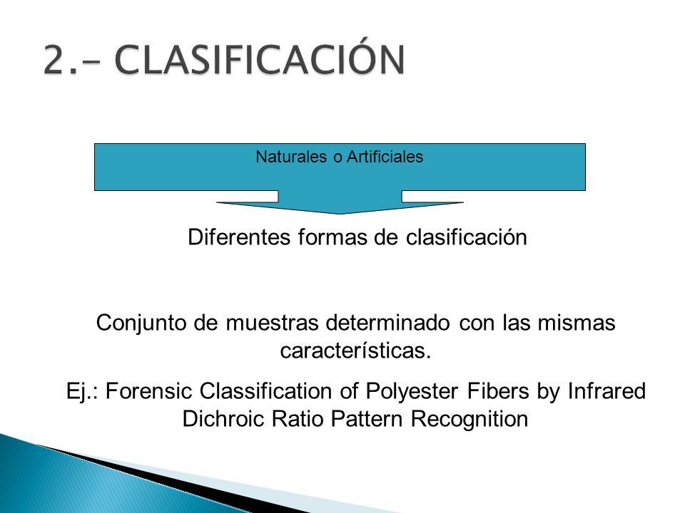 Naturales o Artificiales Diferentes formas de clasificación Conjunto de muestras determinado con las mismas características. Ej.: Forensic Classificat