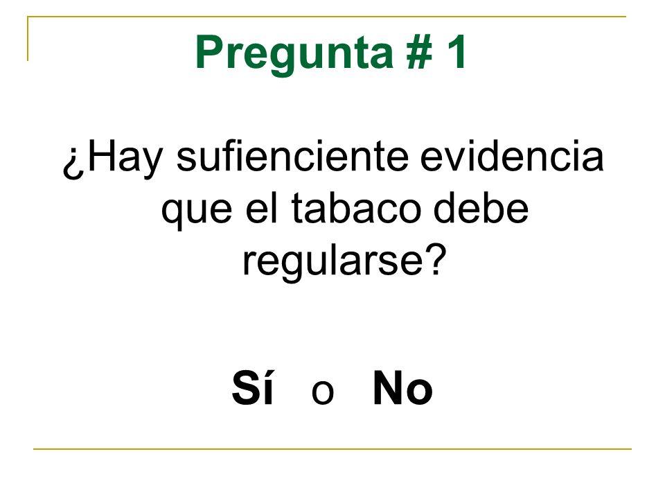 Pregunta # 1 ¿Hay sufienciente evidencia que el tabaco debe regularse? Sí o No