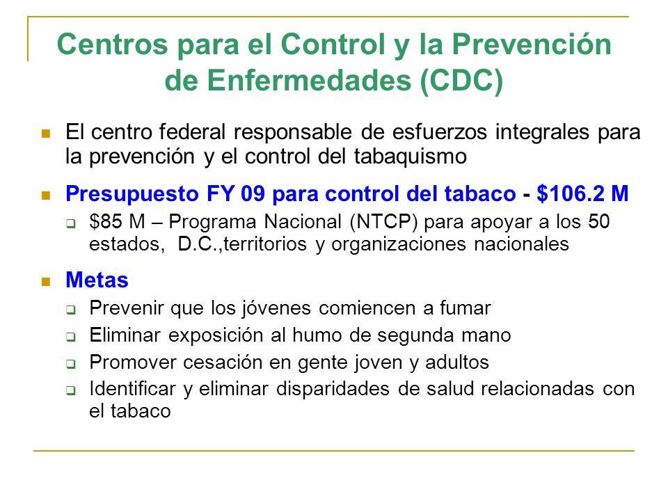Centros para el Control y la Prevención de Enfermedades (CDC) El centro federal responsable de esfuerzos integrales para la prevención y el control de