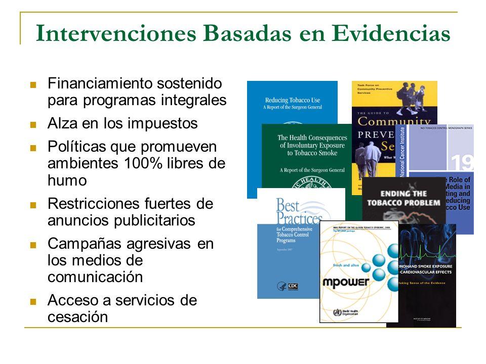 Intervenciones Basadas en Evidencias Financiamiento sostenido para programas integrales Alza en los impuestos Políticas que promueven ambientes 100% l