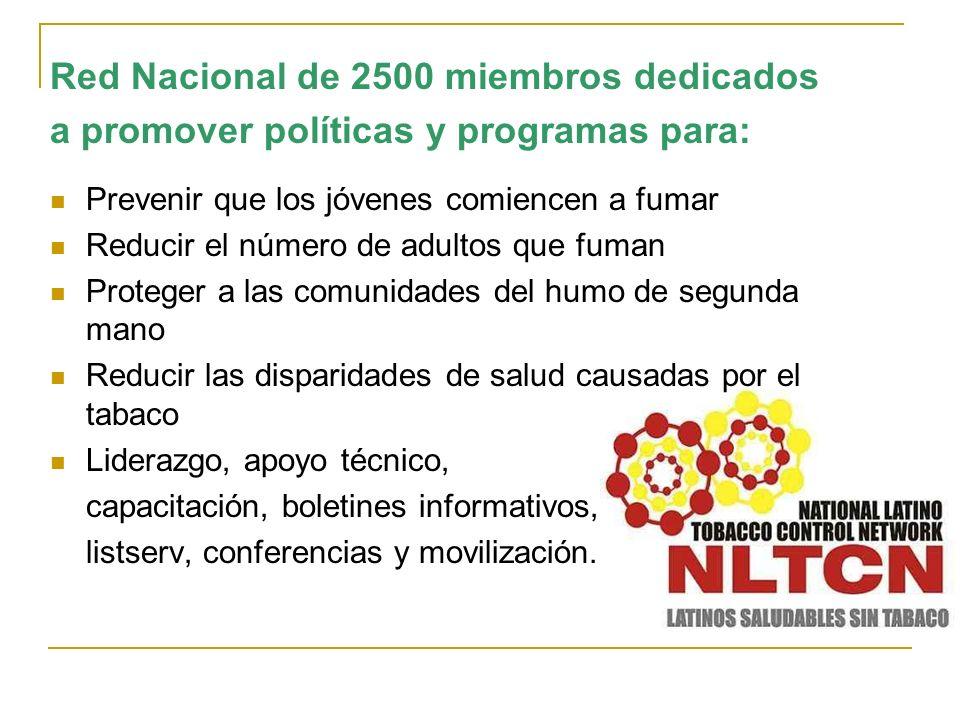Red Nacional de 2500 miembros dedicados a promover políticas y programas para: Prevenir que los jóvenes comiencen a fumar Reducir el número de adultos
