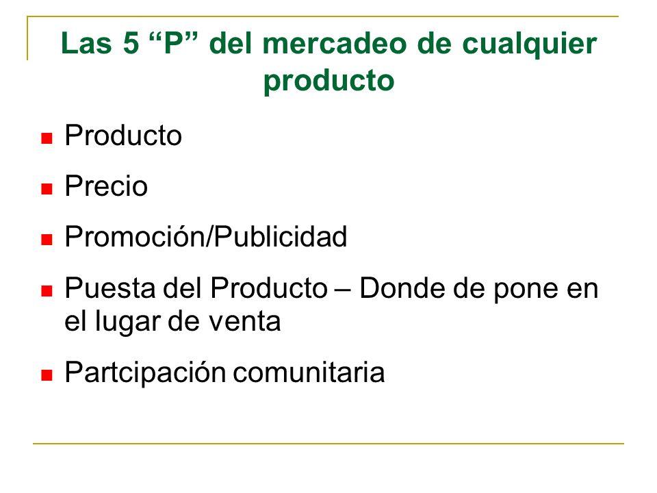 Las 5 P del mercadeo de cualquier producto Producto Precio Promoción/Publicidad Puesta del Producto – Donde de pone en el lugar de venta Partcipación