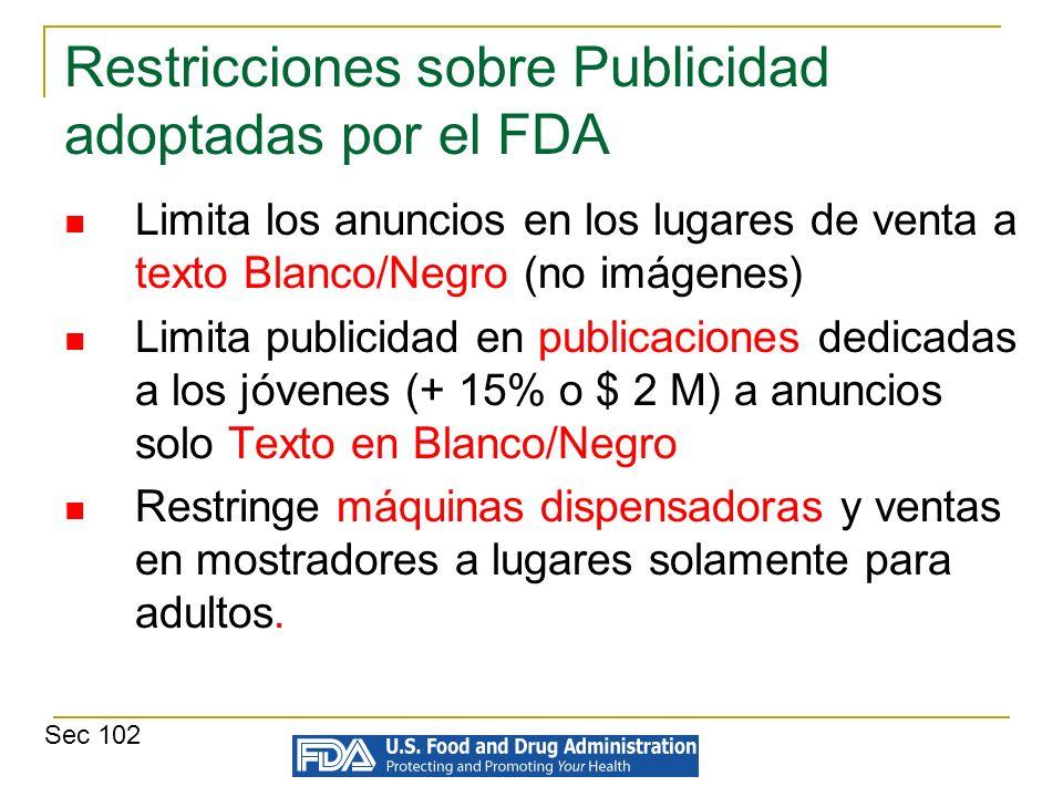 Restricciones sobre Publicidad adoptadas por el FDA Limita los anuncios en los lugares de venta a texto Blanco/Negro (no imágenes) Limita publicidad e