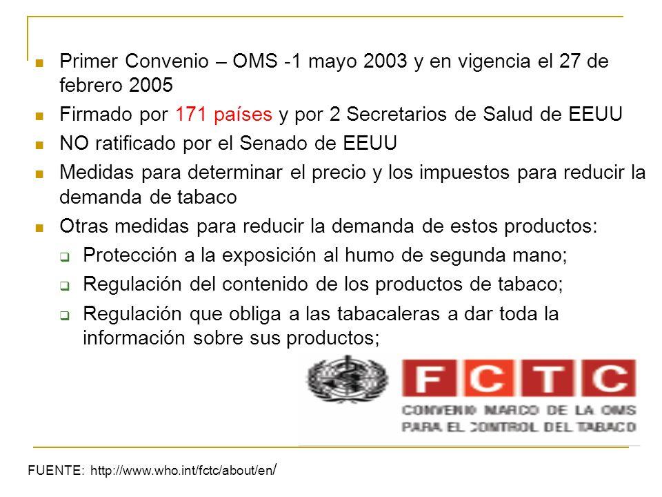 Primer Convenio – OMS -1 mayo 2003 y en vigencia el 27 de febrero 2005 Firmado por 171 países y por 2 Secretarios de Salud de EEUU NO ratificado por e