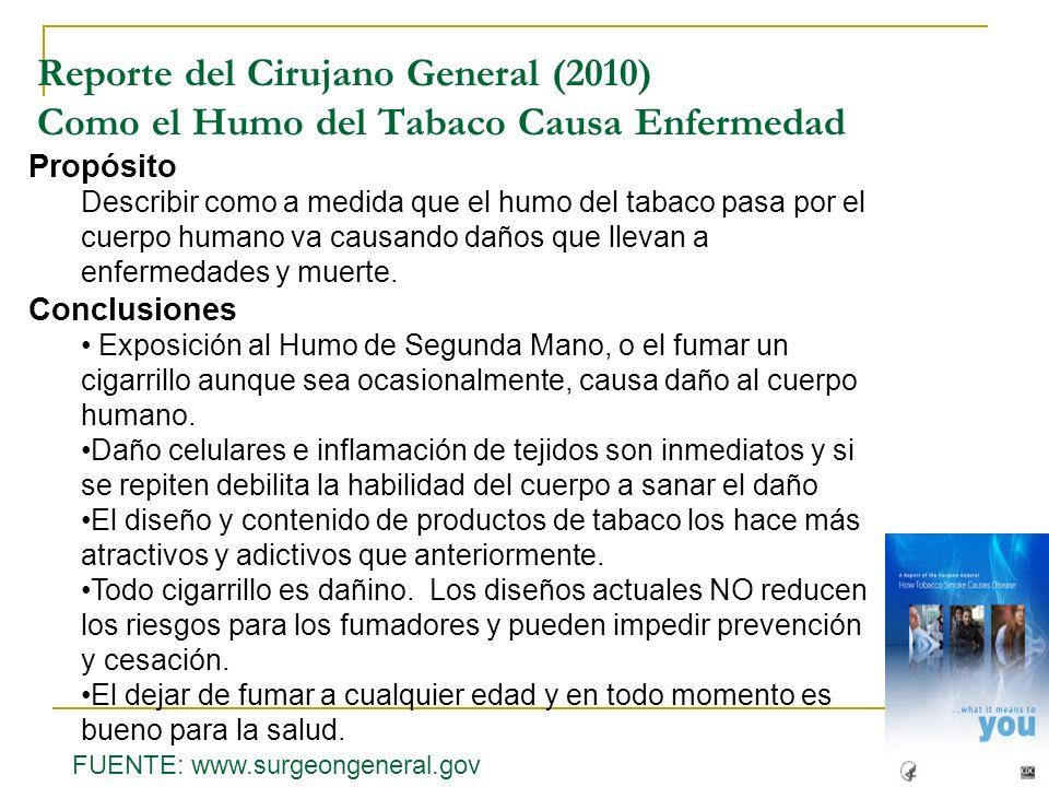 Propósito Describir como a medida que el humo del tabaco pasa por el cuerpo humano va causando daños que llevan a enfermedades y muerte. Conclusiones