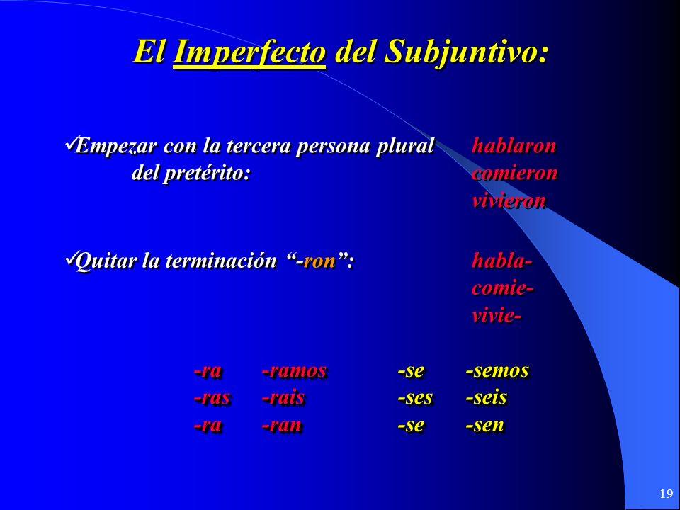 18 El Imperfecto Del subjuntivo El Imperfecto Del subjuntivo U7.1 y 7.2
