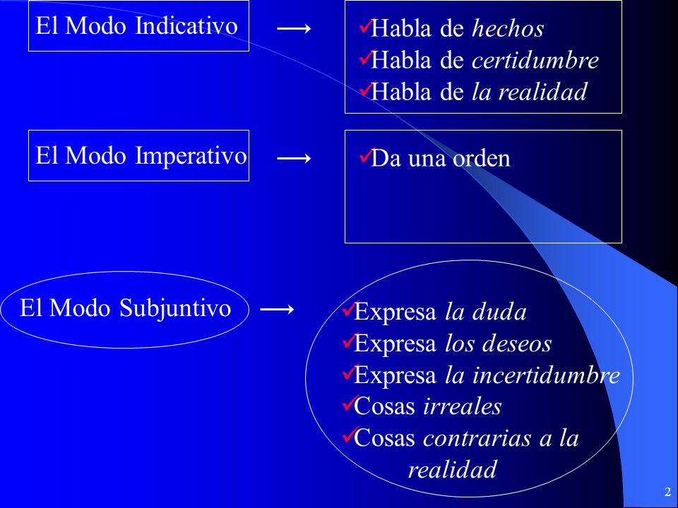 32 El presente perfecto del subjuntivo Verbo (presente) Verbo (presente) + + Que + + Presente perfecto del subjuntivo (haya) Presente perfecto del subjuntivo (haya) Espero que tú no hayas roto esa lámpara y deseo que me hayas dicho la verdad.