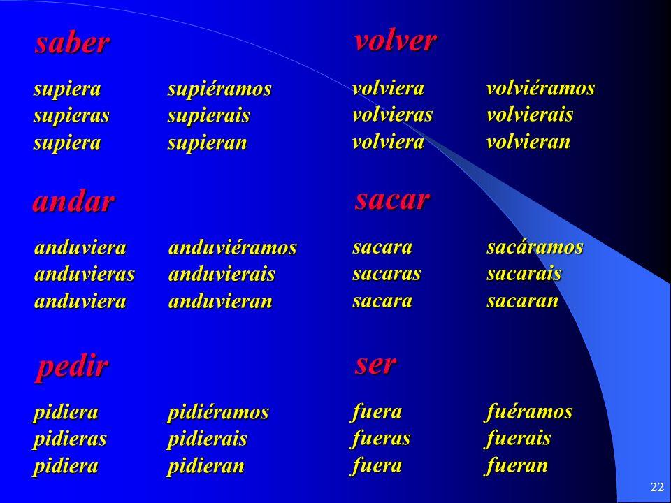 21 ¿Cuál es la forma correcta del Imperfecto del Subjuntivo? El Verbo La Raíz La Forma Yo / decir dije- dijera / dijese ellos / ver vie- vieran / vies