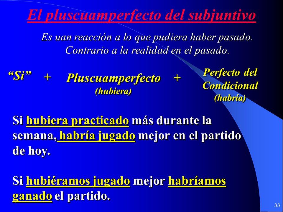 32 El presente perfecto del subjuntivo Verbo (presente) Verbo (presente) + + Que + + Presente perfecto del subjuntivo (haya) Presente perfecto del sub