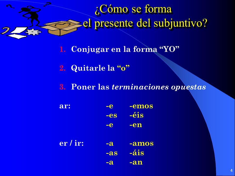 4 ¿Cómo se forma ¿Cómo se forma el presente del subjuntivo.