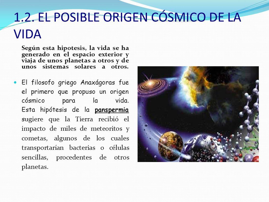 TEORÍA DE LA PANSPERMIA ARGUMENTOS EN CONTRA: No se han encontrado células en los meteoritos, sólo trazas de biomoléculas.