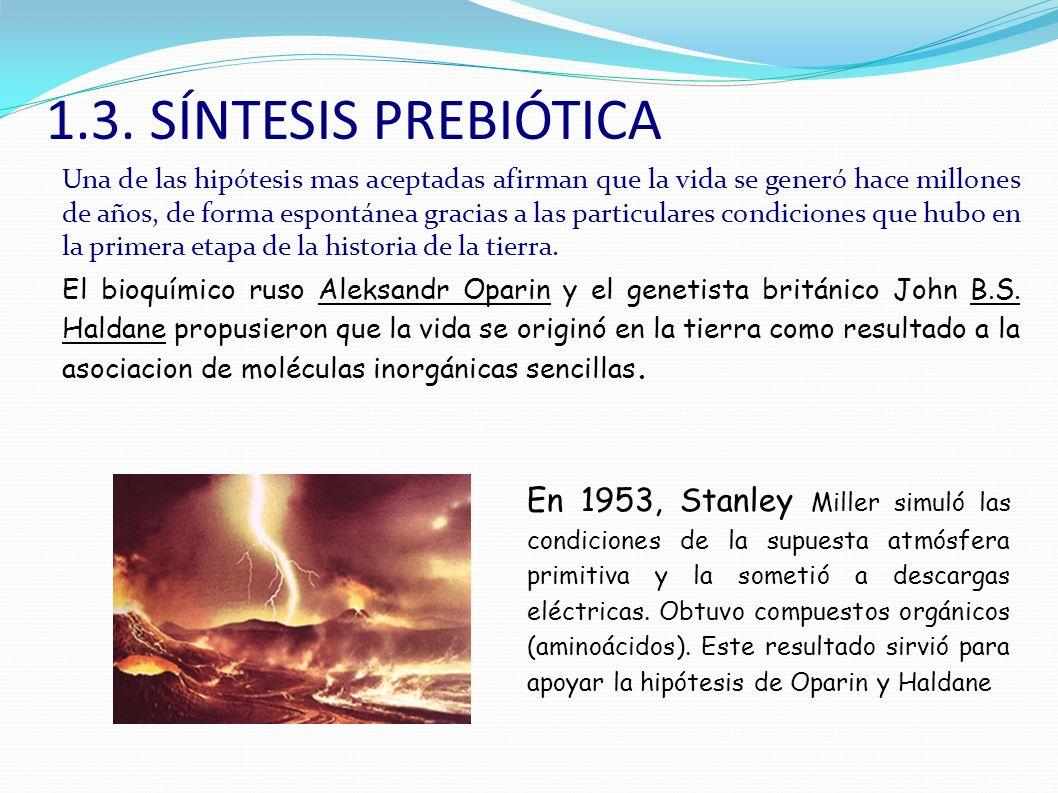Miller simuló en el laboratorio las condiciones primitivas de la atmósfera primitiva, tanto en composición como en las condiciones de energía y consiguieron sintetizar biomoléculas orgánicas a partir de materia inerte.