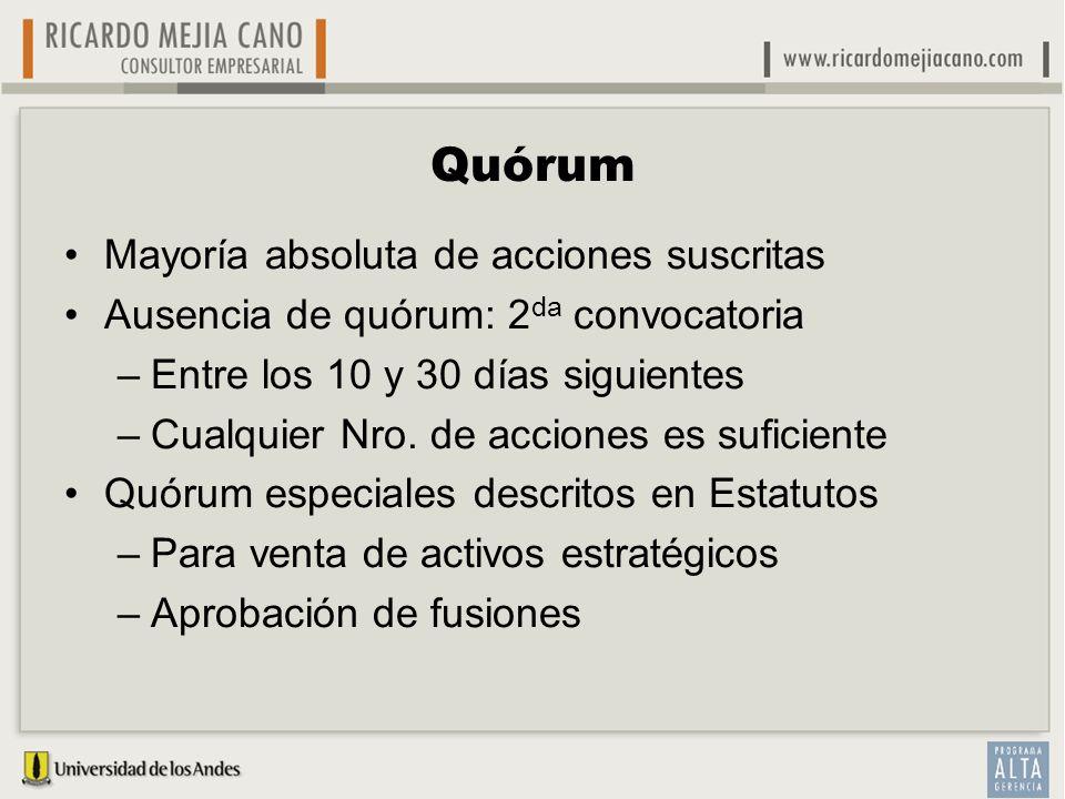 Quórum Mayoría absoluta de acciones suscritas Ausencia de quórum: 2 da convocatoria –Entre los 10 y 30 días siguientes –Cualquier Nro. de acciones es