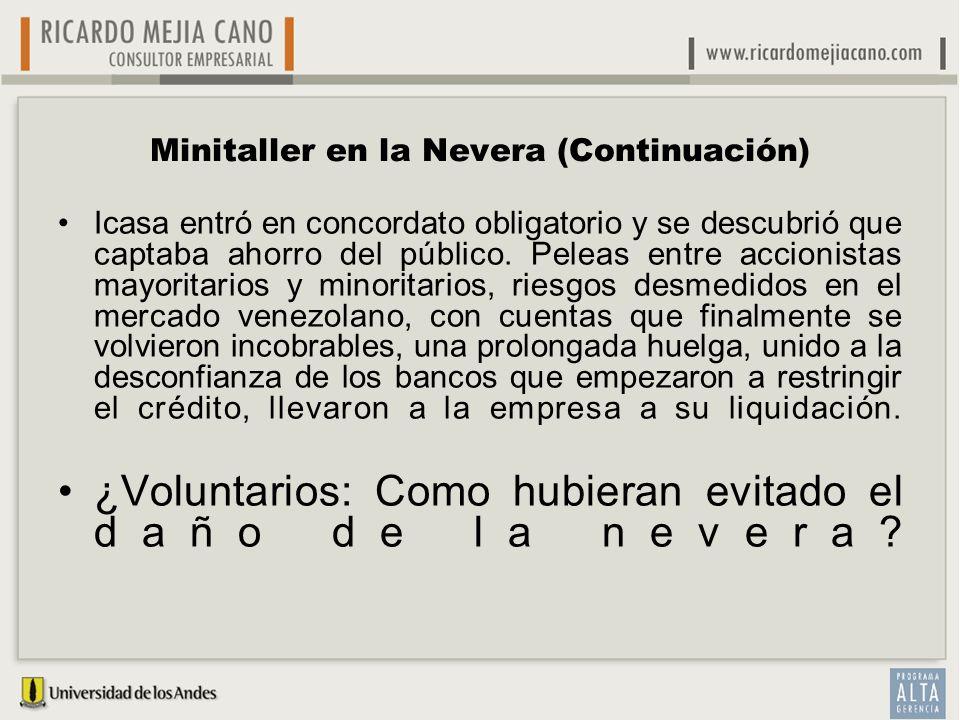 Minitaller en la Nevera (Continuación) Icasa entró en concordato obligatorio y se descubrió que captaba ahorro del público. Peleas entre accionistas m