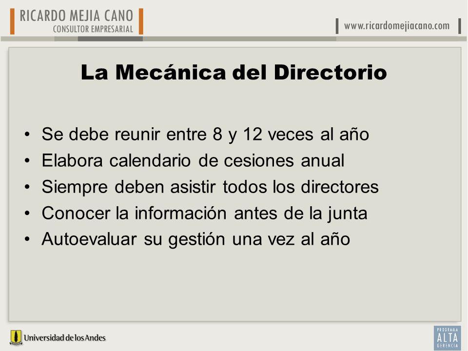 La Mecánica del Directorio Se debe reunir entre 8 y 12 veces al año Elabora calendario de cesiones anual Siempre deben asistir todos los directores Co