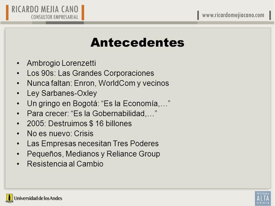 Antecedentes Ambrogio Lorenzetti Los 90s: Las Grandes Corporaciones Nunca faltan: Enron, WorldCom y vecinos Ley Sarbanes-Oxley Un gringo en Bogotá: Es