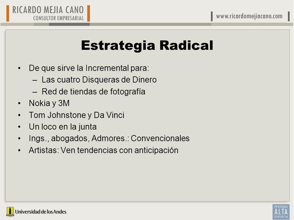 Estrategia Radical De que sirve la Incremental para: –Las cuatro Disqueras de Dinero –Red de tiendas de fotografía Nokia y 3M Tom Johnstone y Da Vinci