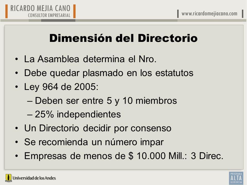 Dimensión del Directorio La Asamblea determina el Nro. Debe quedar plasmado en los estatutos Ley 964 de 2005: –Deben ser entre 5 y 10 miembros –25% in